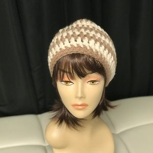 Brand new Taupe and white beanie